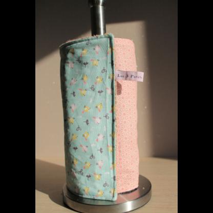 Rouleau d'essuie-tout lavable – oiseaux/asanoha