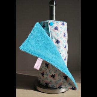 Rouleau d'essuie-tout lavable – oiseaux bleus